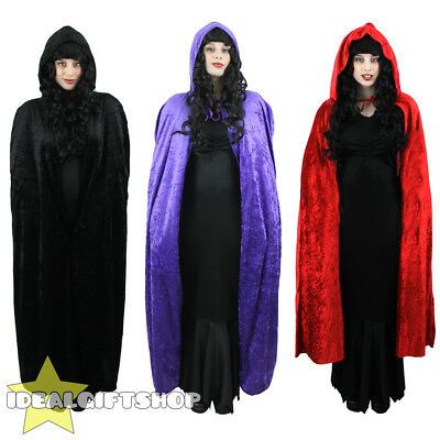 Hooded Velour Cape Vampire Halloween Adults Fancy Dress Purple Red Black Cloak
