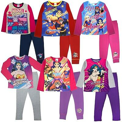 Marvel DC Comics Super Hero Girls Pyjamas Kids Wonder Woman Hulk Long Pjs Size