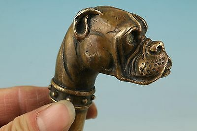 Chinese Old bronze hand carved lucky dog statue walking stick head