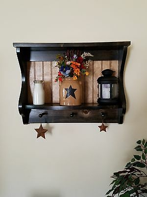 """Primtive Country Plate Rack Wall Shaker 24"""" Two Toned Wall Display"""