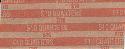 100 Twenty Five Cent Flat Quarter Coin Wrappers That Hold 40 Quarters Each
