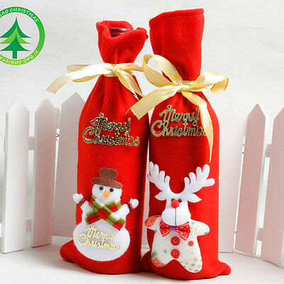 Christmas Red Santa Tree Wine Bottle Cover Bags Xmas Dinner Party Table Decor