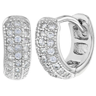 """925 Sterling Silver Clear CZ Small Tiny Baby Girls Hoop Earrings 0.27"""""""