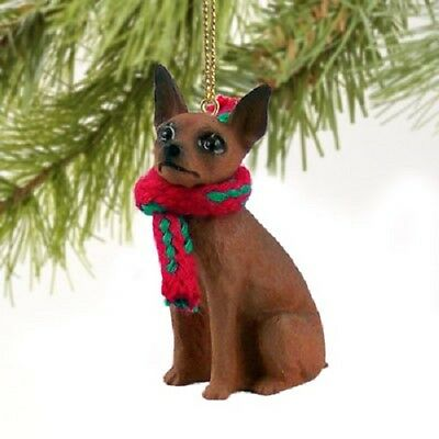 MINIATURE PINSCHER dog HAND PAINTED ORNAMENT Figurine Christmas brown puppy NEW
