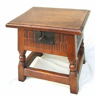 Antique Carved Oak Joint Stool Lamp Table Slipper Box Coffer with Lock & Key