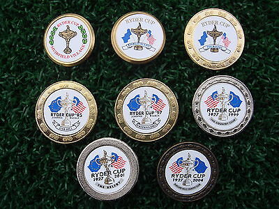 Set of 8 x Collectable Metal Golf Ball Markers - Ryder Cup from 1987 to 2004