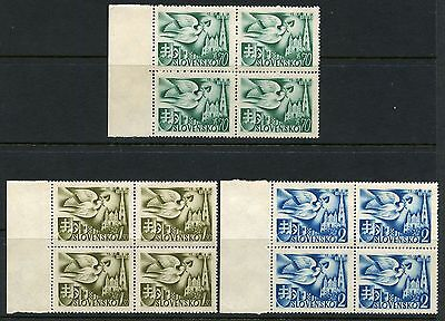 Slovakia Scott#74/76  Set Of Blocks  Mint Never Hinged