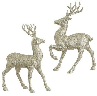 RAZ Imports 12.5 inch Glittered Gold Standing Deer Reindeer Set/2 Christmas NEW