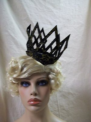 Black Gold Imperial Lace Crown Headpiece Wicked Evil Queen Renaissance Medieval