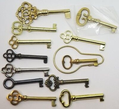 Set of 12 keys Polished Skeleton Antique lock trunk steamer chest