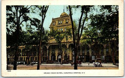 Saratoga Springs, New York Postcard GRAND UNION HOTEL Street View c1910s Unused