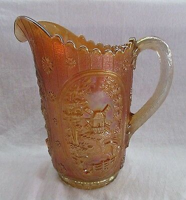 Antique Imperial Glass Marigold Windmill Full Size 2 Quart  Pitcher