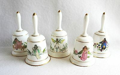 5 Vintage Fairy Bells Enchanted Flower Franklin Porcelain 1979 Lily Valley Pansy