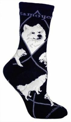 Adult Size Medium SAMOYED Adult Socks/Black Made in USA