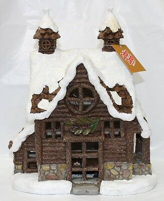 New Christmas Village 30Cm Solar Powered Winter Log House Ornament Xfv613