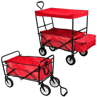 With/No Roof Heavy Duty Hand Truck Trolley Hand Utility Trailer Wagon Foldable