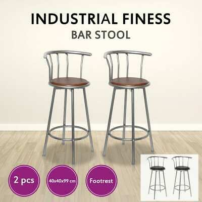 Black/Brown 2x MDF Bar Stool Kitchen Dining Chair Steel Backrest Swivel Footrest