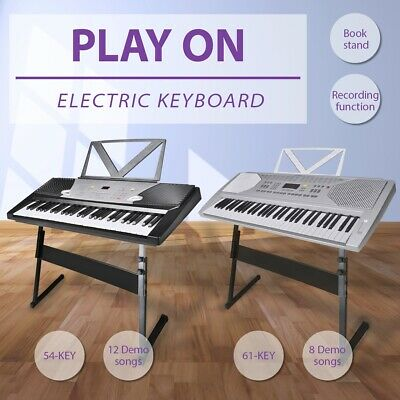 2 Sizes 54/61 Electronic Digital Piano Keyboard Stand Classical 12 Demo Song