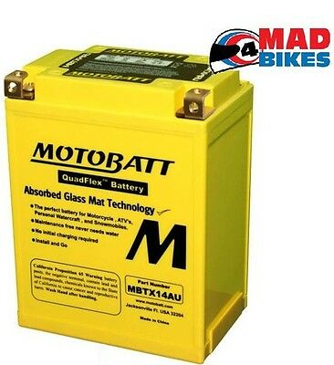 New Motobatt MBTX14AU Upgrade AGM Motorcycle Battery Replacement for YB14L-A2