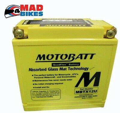 New Motobatt MBTX12U Upgrade AGM Motorcycle Battery Replacement for YTX14-BS