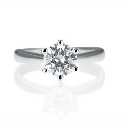 1 CT Diamond Engagement Ring Enhanced Round Cut D/SI 14K White Gold