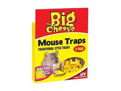 THE BIG CHEESE   Baited Ready To Use Traditional style Mouse Trap - Twin Pack
