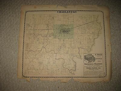 Antique 1869 Charleston Township Coles County Illinois Handcolored Map Superb