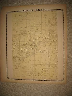 Antique 1869 North Okaw Township Coles County Illinois Handcolored Map Rare Nr