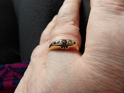 Vintage 1940's 18 Carat Yellow Gold Ruby & Diamond  Set Band Ring Size N 1/2