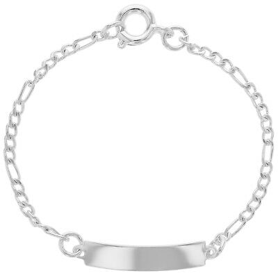 """Silver Plated Tag ID Chain Baby Girl Newborn Bracelet 4.5"""""""