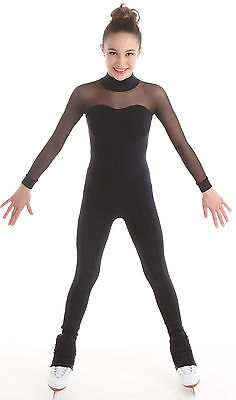 New SKATING DRESS CATSUIT Unitard Black Supplex ELITE XPRESSION XS 1517 10-12 CL