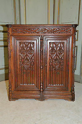Antique French Gothic Cabinet, Night Stand or Occasional Desk in Oak