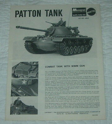 MONOGRAM PATTON Tank Model Kit Instructions Only 1966 6863