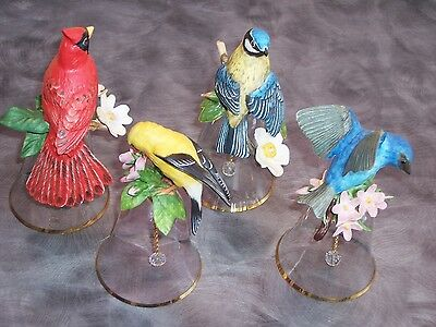 Set of 4 Vintage Porcelain Birds Crystal Bells
