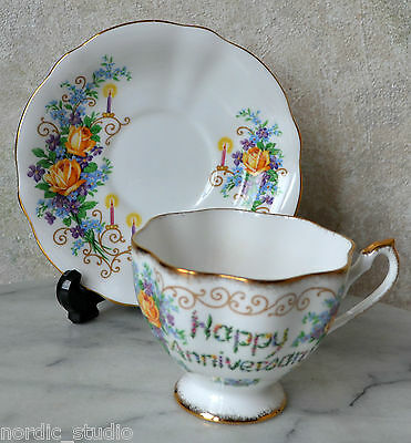 VTG Queen Anne England Bone China HAPPY ANNIVERSARY Tea Cup + Saucer SET