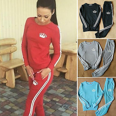 Ladies Fitted Sweatshirt 2pcs Tracksuits Gym Active Joggers Long Sleeve Outfits
