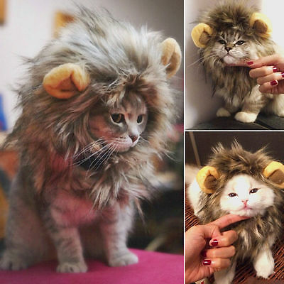 Pet Hat Lion Mane Wig For Cat Halloween Fancy Dress Up With Ears Festival TG