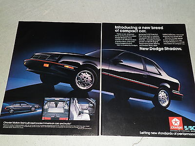 1987 DODGE SHADOW article / ad