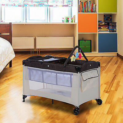 HOMCOM Portable Baby Travel Cot Playpen Sleep Bed Bassinet Changing Table Coffee