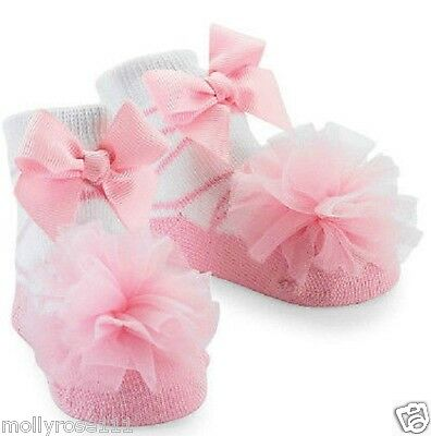 Baby Girl Snazzy Pink & White Ballerina Dance Tulle Puff Socks ~ 0-12 Months ~