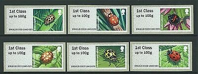 Great Britain 2016 Post And Go Ladybirds Set Of 6 Unmounted Mint, Mnh