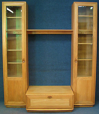 Ercol Elm Windsor TV Stand With 2 Connecting Tall Narrow Display Cabinets
