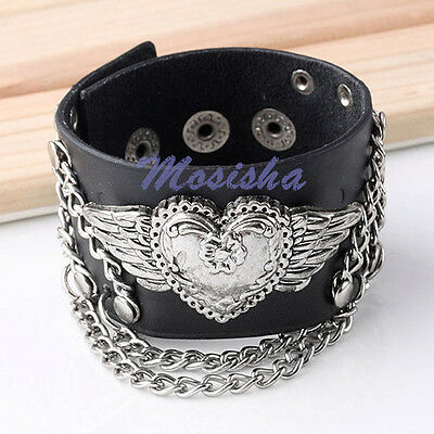 1X Punk Unisex Black Real Cow Leather Heart Angel Wing Chain Bracelet Jewelry