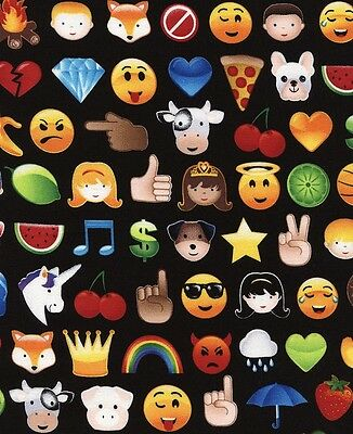 EMOJI EMOTICONS  100/% COTTON FABRIC by the metre HAPPY SMILEY FACES DRESS MAKING