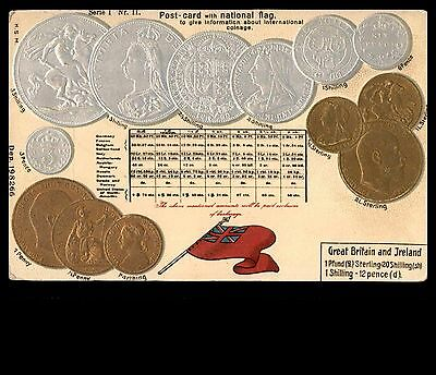 Great Britain Ireland currency coins embossed old postcard unused