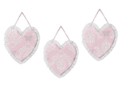 Wall Art Decor Hanging for Jojo Designs Shabby Chic Pink Gray Butterfly Bedding