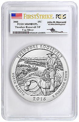 2016 25c 5 oz Silver ATB Theodore Roosevelt PCGS MS69 DMPL FS Mercanti SKU42429