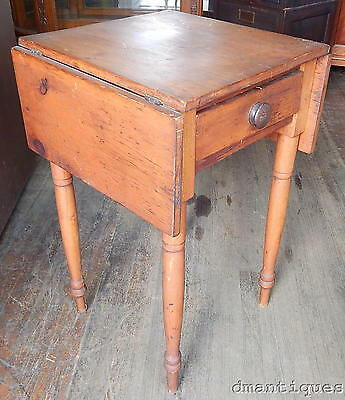 Early 19th Century Antique Pine Drop-Leaf Work Table 1-Drawer Lamp Night Stand