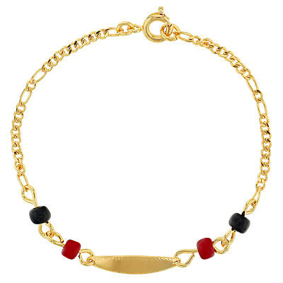 18k Gold Plated Evil Eye Protection Simulated Azabache Kids ID Bracelet 6""