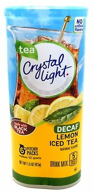 4 12-Quart Canisters Crystal Light Decaf Lemon Iced Tea Drink Mix
